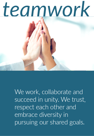 Teamwork - We work, collaborate and succeed in unity, believing and trusting each other in pursuing our shared goals. We embrace a philosophy of openess in acknowledging differences of opinions, cultures and contributions among all team members, treating all with respect.